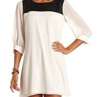 PU Panel Chiffon Shift Dress: Charlotte Russe