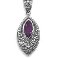 Oxidized Marquise Pendant with Amethyst