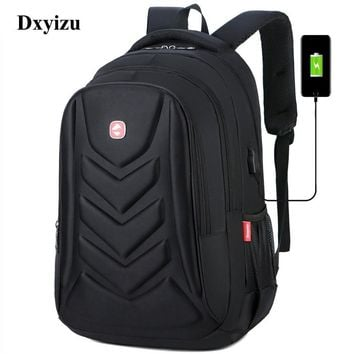 Mens USB Charge Waterproof Laptop Backpacks Large Capacity Male Leisure Travel Bags Student School Bookbag Computer New 2019 Big
