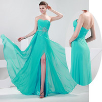 Long Chiffon Evening Formal Bridesmaid Wedding Split Ball Gown Prom Party Dress