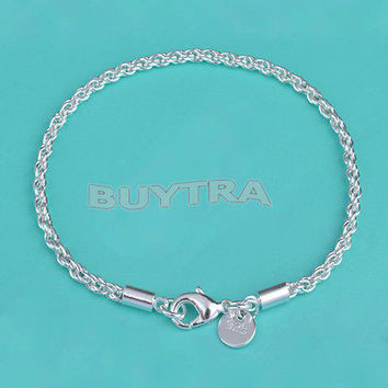 Exquisite Women Girls Silver Plated Twisted Rope Bracelet Jewelry BDAU