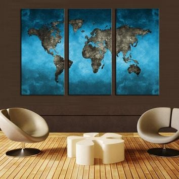 3 Panels  HD Picture Abstract Blue Map Landscape Canvas Print Painting Modern Canvas Wall Art Gift For Home Decoration