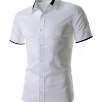 Shirt Collar Color Block Short Sleeve Shirt