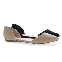 Dolley52 D'Orsay Pointy Toe Slip On Ballet Flat