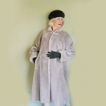 Swing Coat - Vintage 1950s Faux Fur Long Coat - Winter Outerwear