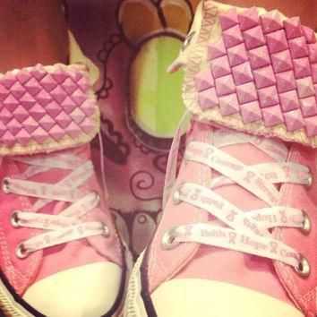 breast cancer awareness custom studded pink converse all stars chuck taylors all si
