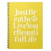 Just Breathe Positive Words Quote Bright Yellow Note Book