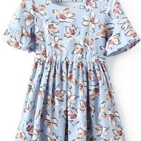 Blue Floral Print Chiffon Dress