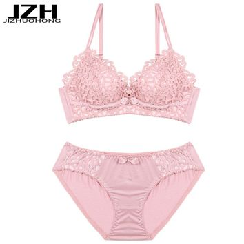 JZH 2018 Brand Women Bra Sets Sexy Seamless Lingerie Bra Set Soft Push Up Intimates Winter Cute Underwear Set Girls Female