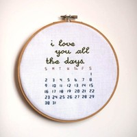 i love you all the days calendar Cross Stitch by rugglesstitch