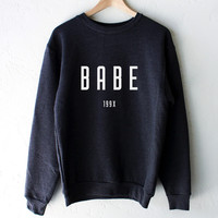 Babe 199x Dark Heather Grey Oversized Sweater