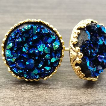 Ocean blue faux druzy in Crown stud earrings (you pick setting tone)
