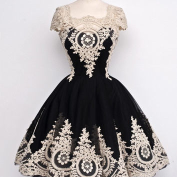 Robe de cocktail New Arrival Real Images Elegant Cap Sleeves Lace Ball Gown Cocktail Dresses 2016