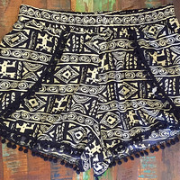 Black & White Aztec Tribal Print Pom Pom Shorts