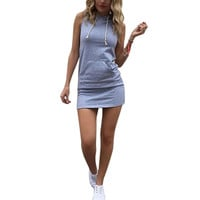 Summer Women Casual Hooded Bodycon Mini Dress Party Slim Sexy Club Dresses Plus Size