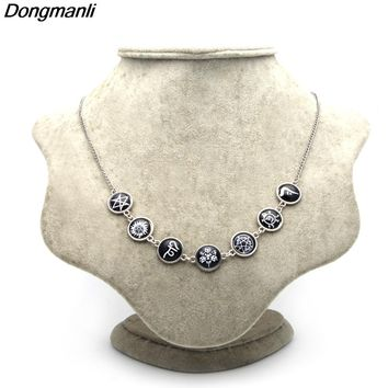 P2349 Dongmanli Supernatural Rune Pendant Necklace Newest Silver Jewelry for Woman Vintage Statement Necklace