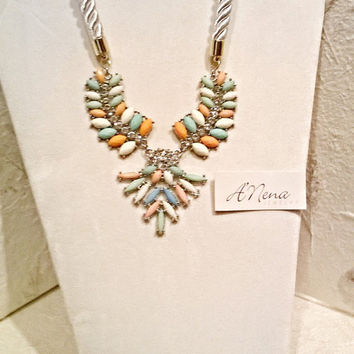 "Statement Necklace: Rhinestones,White, Green, Blue & Peach Glass Gems,White satin twisted Chord,  Gold Tone,  expandable,  ""Sunrise  Dream"""