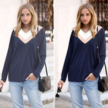 Color Block V-Neck Long-Sleeve Sweater