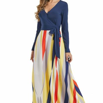 Blue Long Sleeve Yellowish Striped Skirt Maxi Dress