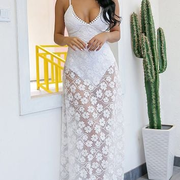 Always Your Girl White Sheer Mesh Lace Sleeveless Spaghetti Strap V Neck Casual Maxi Dress