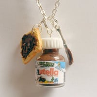 Nutella Chocolate Spread Cluster Necklace Pendant - Miniature Food Jewelry