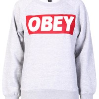Obey Sweatshirt in Grey - Find Cheap Clothes - Cheap Clothing - Womens £5 Fashion | Missrebel
