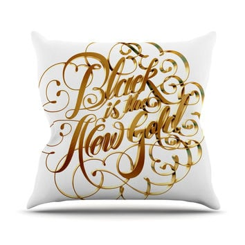 "Roberlan ""Black is the New Gold"" Typography Outdoor Throw Pillow"