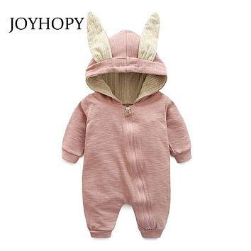 JOYHOY Baby Romper children kids Cute Rabbit Hooded Long Sleeve Jumpsuit Baby Product ,Cotton Newborn Baby Rompers