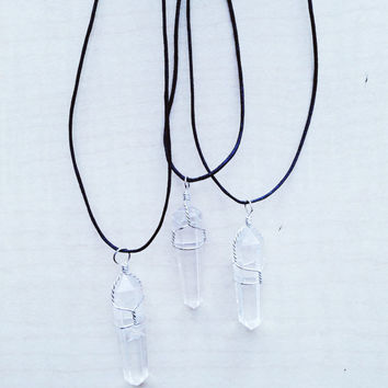 Wire Wrapped Quartz Point Pendant on Black Cord