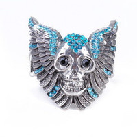 1pcs Punk Unique design Rhinestone Skull&Wing Bangle Bracelet new arrival