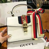GUCCI High Quality Classic Trending Women Stylish Leather Stripe Handbag Tote Shoulder Bag Crossbody Satchel White