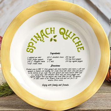 Country Style Recipe Pie Plate. Spinach Quiche Recipe Included. Gifted w/A Bow