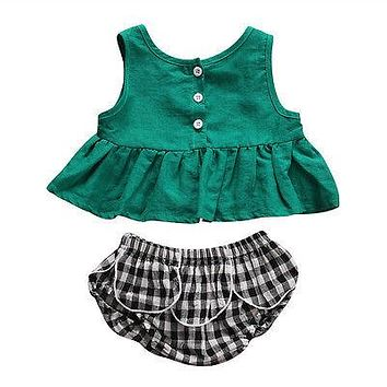 Newborn Baby Girls Clothing Toddler Infant Baby Girl Clothes Sleeveless Tops+ Plaid shorts Outfits Sun suit