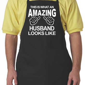 Black Aprons, This Is What An Amazing Husband Looks Like Apron For Men With Pockets