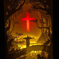 Jesus paper cut light box light box dream box