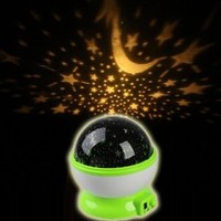 Wisedeal IKASEFU Room Bed Side LED Night Light Lamp Rotary Flashing Starry Star Master Moon Sky Cosmos Projector House decor decorations Light (Green)