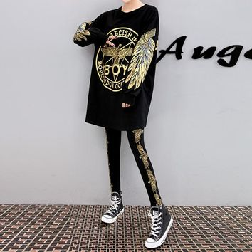 """Boy London"" Women Personality Fashion Wing Eagle Letter Pattern Print Long Sleeve Sweater Leggings Set Two-Piece"