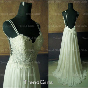 Cheap Custom Made A line Chiffon Backless Lace Wedding Dresses, White Long Lace Wedding Gowns, Bridal Dresses, Bridal Gowns