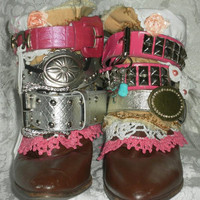 Belted Boots One of a kind Luxury Artsy Boots