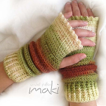 Crochet pattern fingerless gloves - Gloves crochet pattern! Full of large pictures! Permission to sell finished items. Pattern No. 130