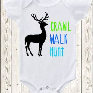 Hunting Onesuit ® brand bodysuit or shirt deer hunting baby hunting clothes / baby shower gift / crawl walk hunt / boy or girl