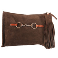 Suede Snaffle Clutch with Suede Tassel | Chocolate
