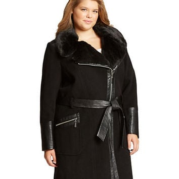 Via Spiga Plus Faux Fur Accented Walker Coat