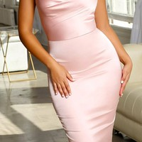 Time To Dip Satin Sleeveless Spaghetti Strap V Neck Open Back Bodycon Midi Dress
