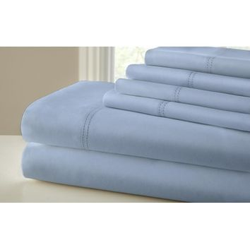 Amrapur 1000 Thread Count 6 Piece Sheet Set With Double Faggoting Hem In Blue