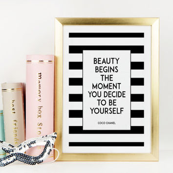 FASHION PRINT,Coco Chanel Quote,Chanel Print,Be Yourself,Fashionista,Gallery Wall Art,Modern Decor,Typography Print,Printable Quote,Quotes