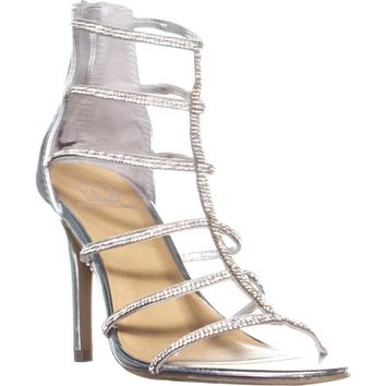 MG35 Raissa Strappy Bejeweled Dress Sandals, Silver, 7.5 US
