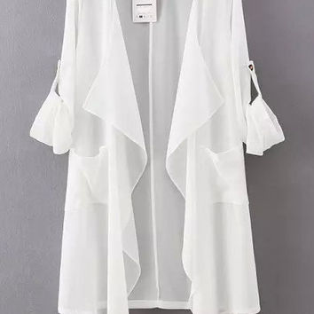 White Lapel Asymmetrical Loose Fitting Chiffon Blouse