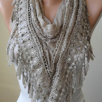 Lace Scarf - Light Brown Scarf with Lace Trim Edge - Triangular - Silvery