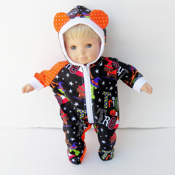 "bitty baby clothes, boy or 15"" girl doll twin, hoodie, pajamas, outfit, pjs, adorabledolldesigns, footed orange black costume halloween ears"
